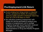 pre employment loa return
