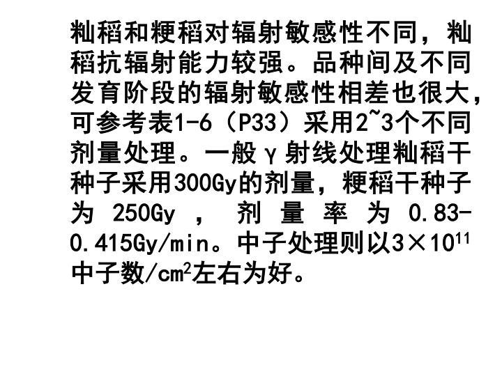 籼稻和粳稻对辐射敏感性不同,籼稻抗辐射能力较强。品种间及不同发育阶段的辐射敏感性相差也很大,可参考表