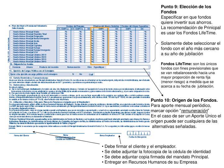 Punto 9: Elección de los Fondos