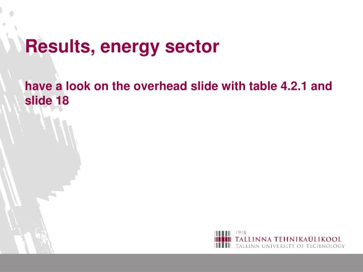 Results, energy sector