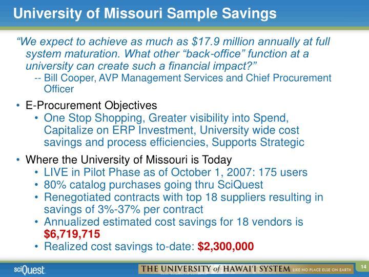 University of Missouri Sample Savings