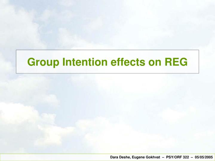 Group intention effects on reg
