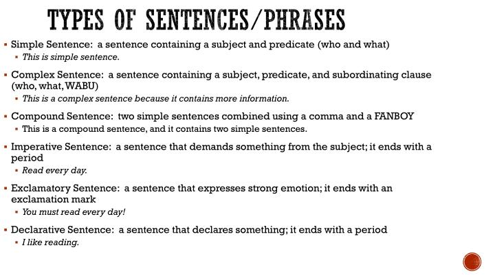 Types of sentences/phrases