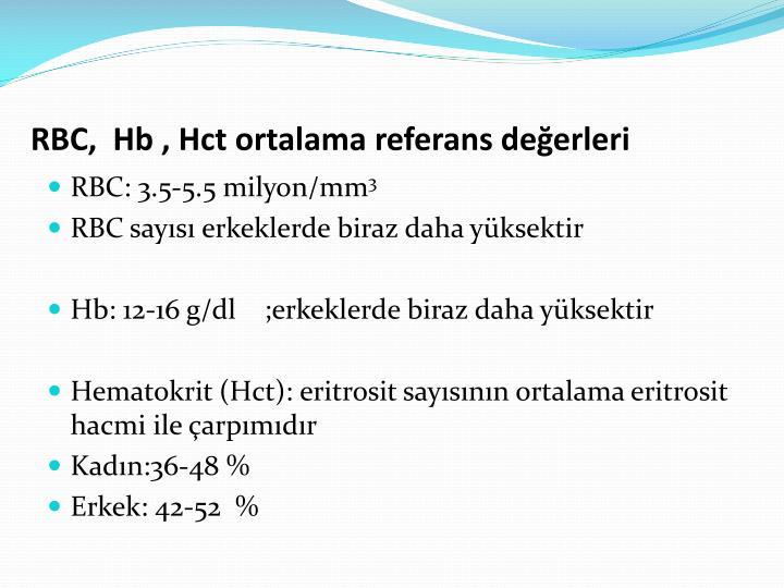 RBC,  Hb , Hct ortalama referans değerleri