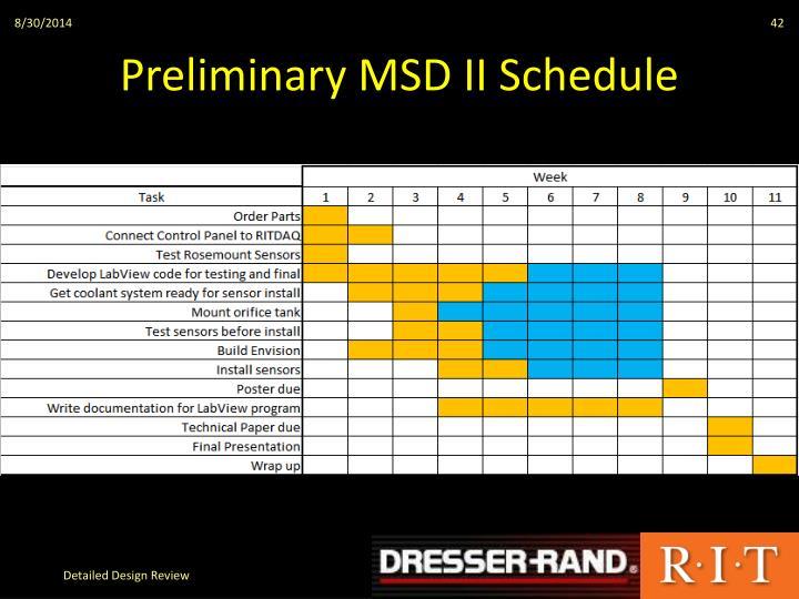 Preliminary MSD II Schedule