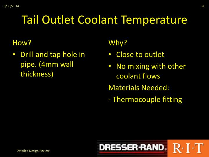 Tail Outlet Coolant Temperature