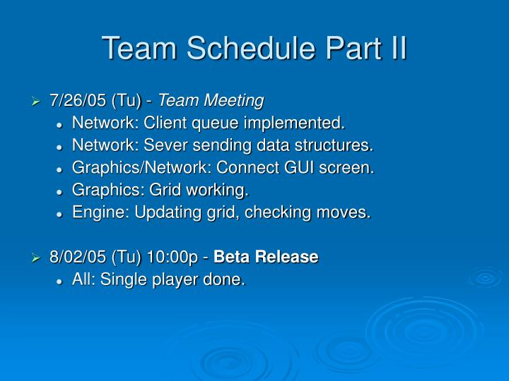 Team Schedule Part II