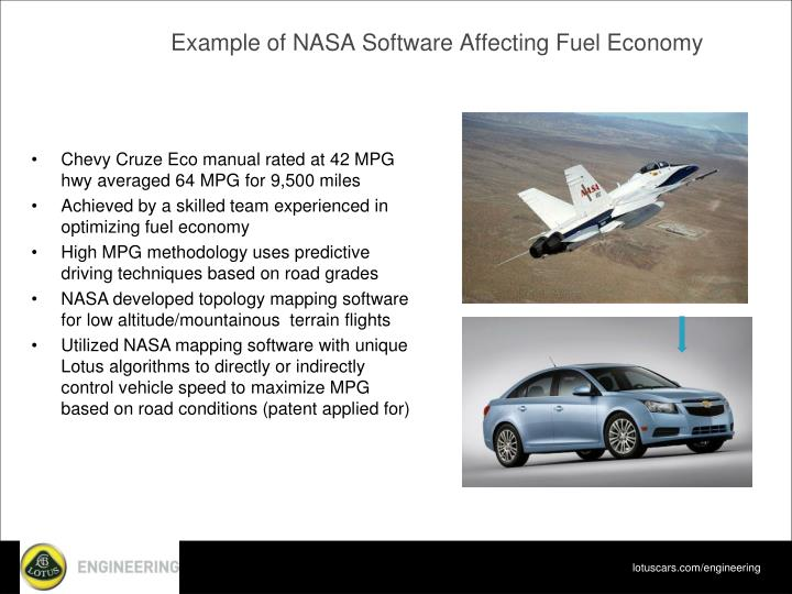 Example of NASA Software Affecting Fuel Economy