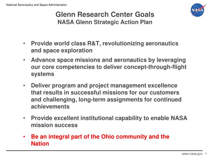 Glenn research center goals nasa glenn strategic action plan