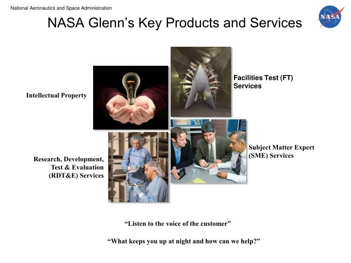 NASA Glenn's Key Products and Services