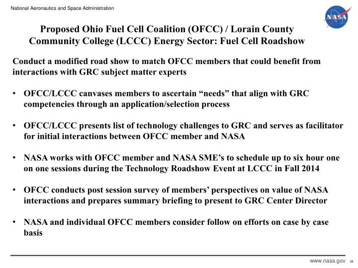 Proposed Ohio Fuel Cell Coalition (OFCC) / Lorain County Community College (LCCC) Energy Sector: Fuel Cell Roadshow