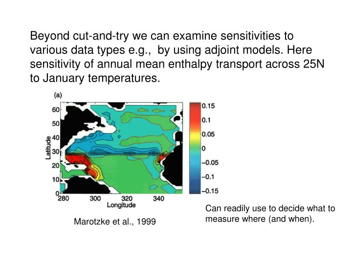 Beyond cut-and-try we can examine sensitivities to various data types e.g.,  by using adjoint models. Here sensitivity of annual mean enthalpy transport across 25N to January temperatures.