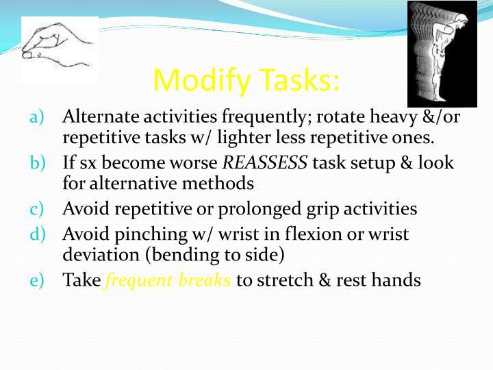 Modify Tasks: