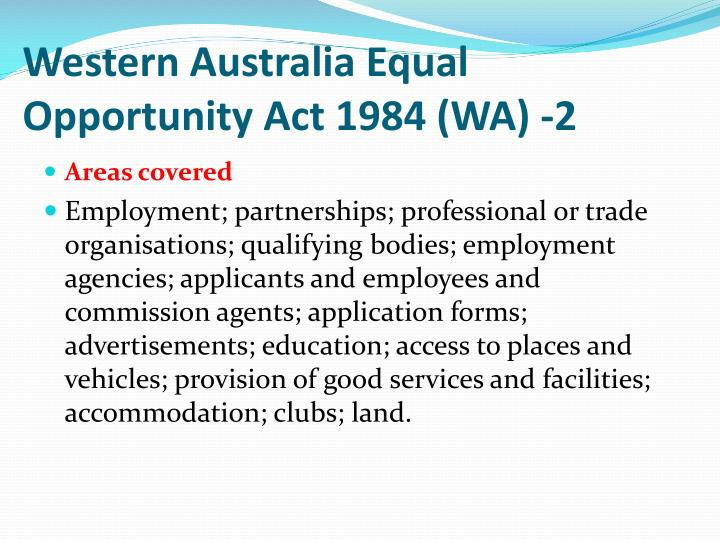 Western Australia Equal Opportunity Act 1984 (WA) -2