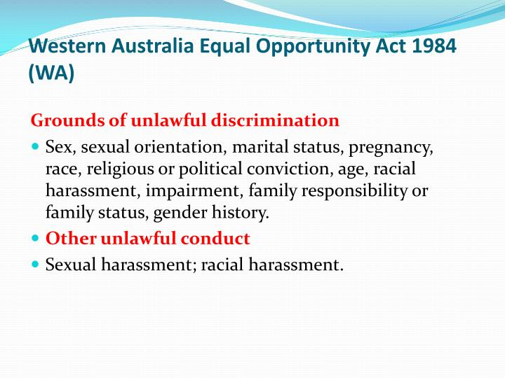 Western Australia Equal Opportunity Act 1984 (WA)