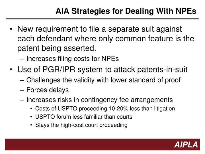 AIA Strategies for Dealing With NPEs