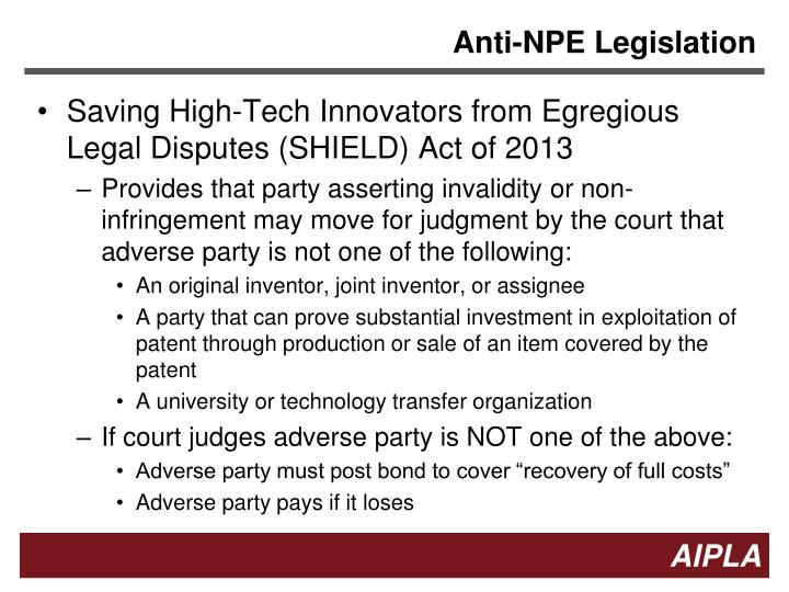 Anti-NPE Legislation