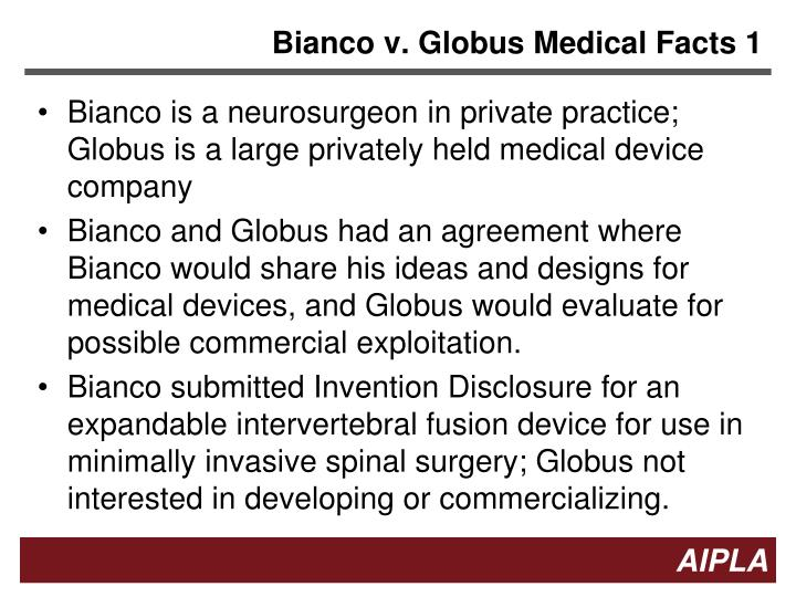 Bianco v. Globus Medical Facts 1