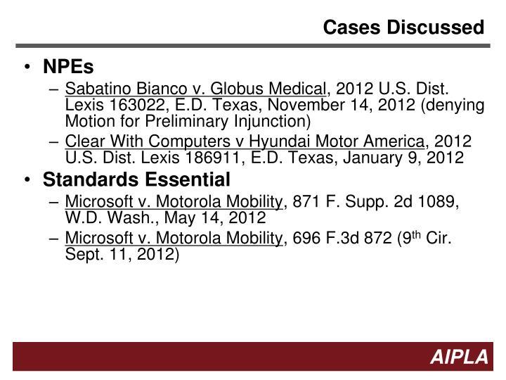 Cases Discussed