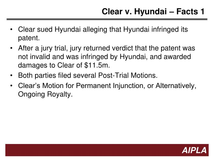 Clear v. Hyundai – Facts 1