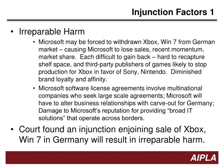 Injunction Factors 1