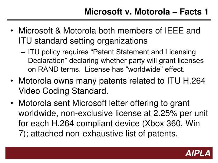 Microsoft v. Motorola – Facts 1