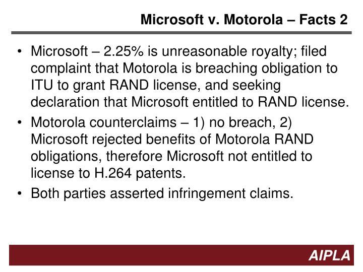 Microsoft v. Motorola – Facts 2