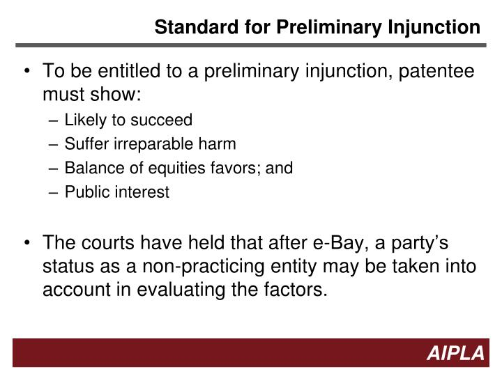 Standard for preliminary injunction