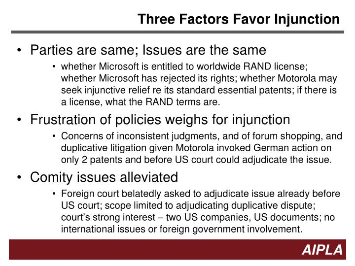 Three Factors Favor Injunction
