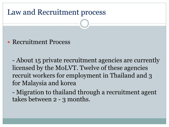 Law and Recruitment process