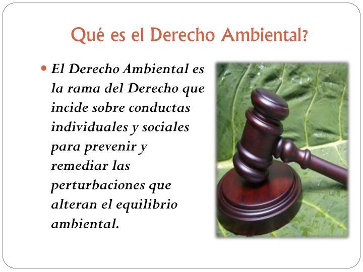 Qué es el Derecho Ambiental?