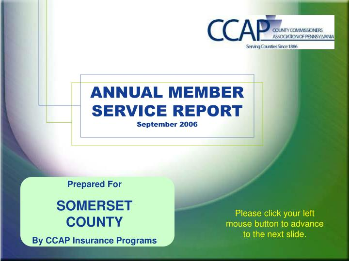 Annual member service report september 2006