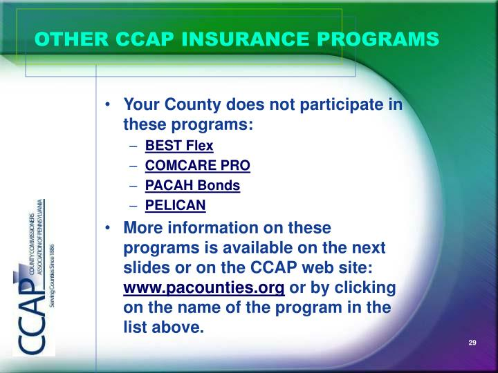 OTHER CCAP INSURANCE PROGRAMS