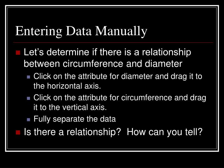 Entering Data Manually