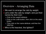 overview arranging data