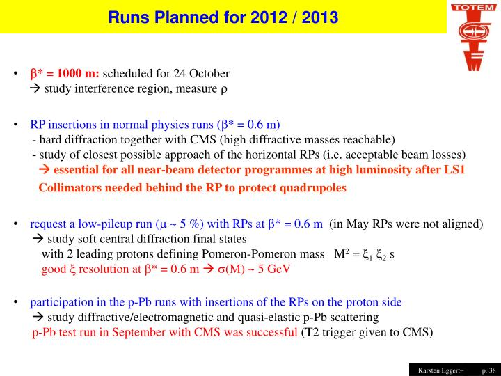 Runs Planned for 2012 / 2013