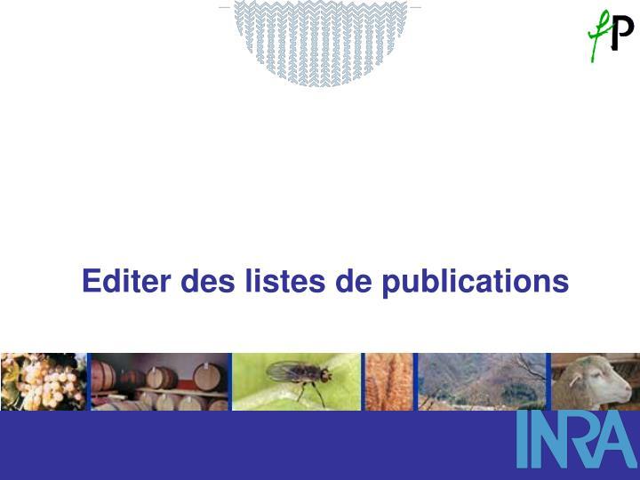 Editer des listes de publications