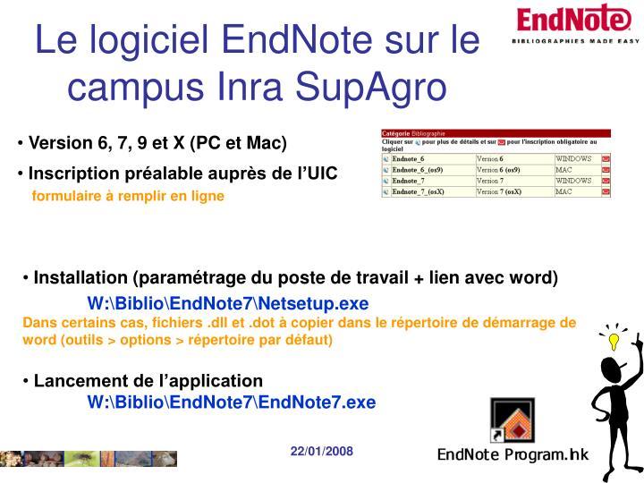 Le logiciel EndNote sur le campus Inra SupAgro
