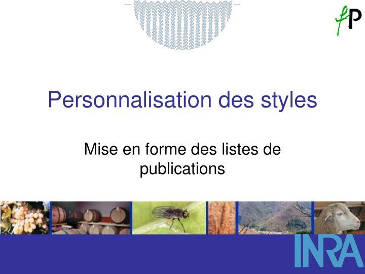 Mise en forme des listes de publications