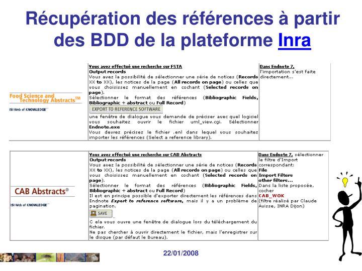 Récupération des références à partir des BDD de la plateforme