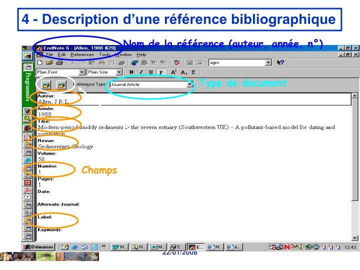 Nom de la référence (auteur, année, n°)