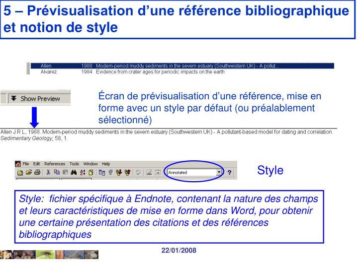 5 – Prévisualisation d'une référence bibliographique
