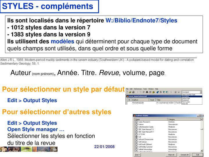 STYLES - compléments