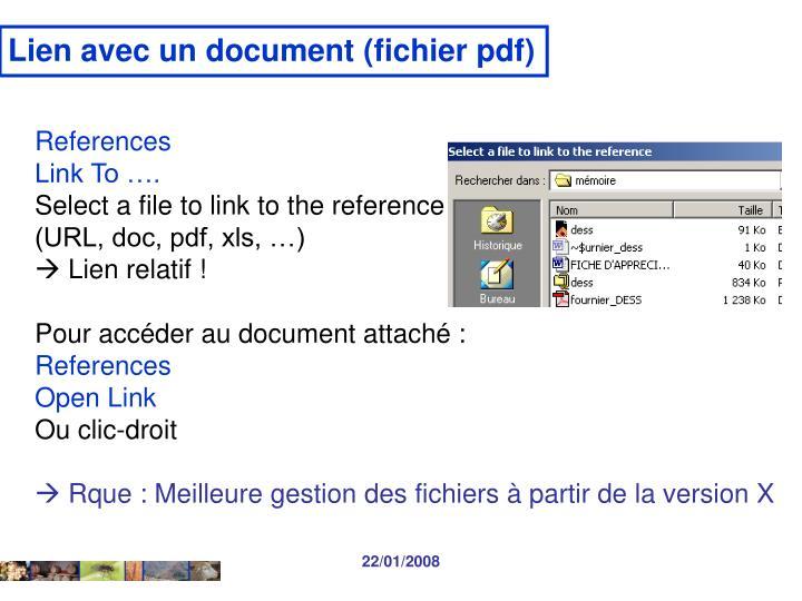 Lien avec un document (fichier pdf)