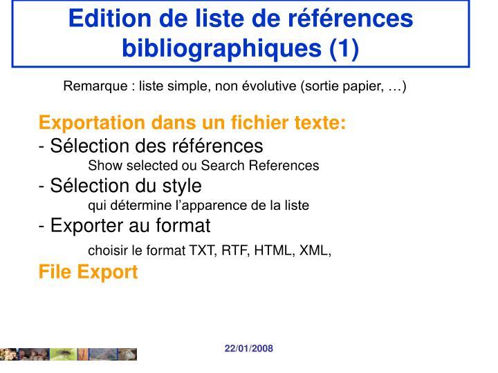 Edition de liste de références bibliographiques (1)