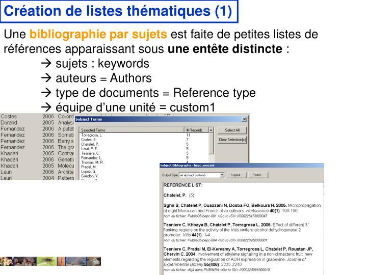 Création de listes thématiques (1)