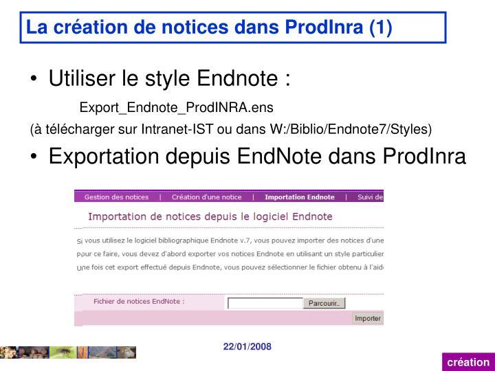 La création de notices dans ProdInra (1)