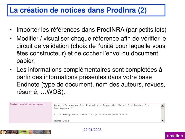 La création de notices dans ProdInra (2)