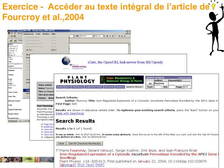 Exercice -  Accéder au texte intégral de l'article de Fourcroy et al.,2004
