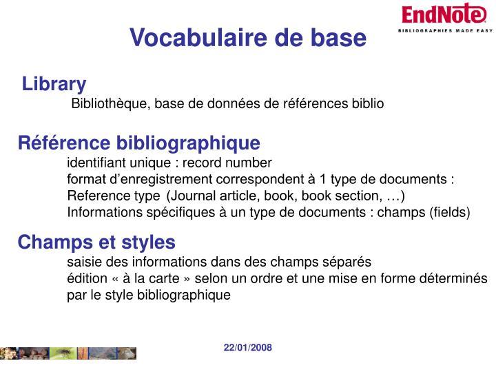 Vocabulaire de base
